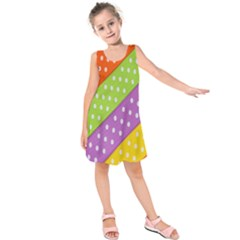 Colorful Easter Ribbon Background Kids  Sleeveless Dress by Simbadda
