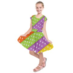 Colorful Easter Ribbon Background Kids  Short Sleeve Dress by Simbadda