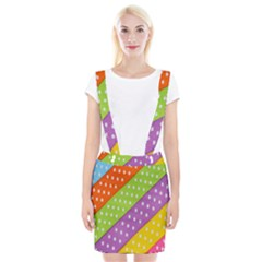Colorful Easter Ribbon Background Suspender Skirt by Simbadda
