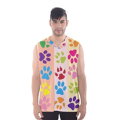 Colorful Animal Paw Prints Background Men s Basketball Tank Top by Simbadda