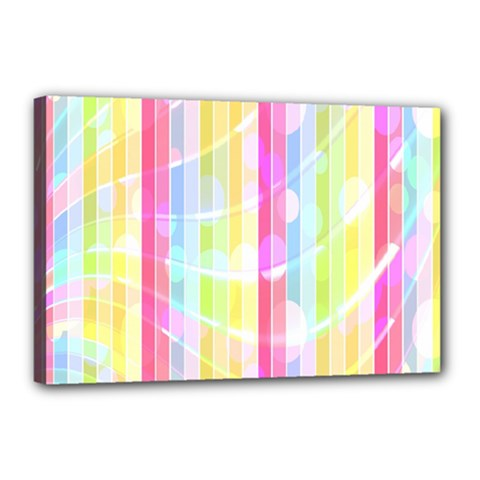 Colorful Abstract Stripes Circles And Waves Wallpaper Background Canvas 18  X 12  by Simbadda