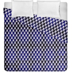 Squares Blue Background Duvet Cover Double Side (King Size) by Simbadda