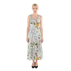 Floral Kraft Seamless Pattern Sleeveless Maxi Dress