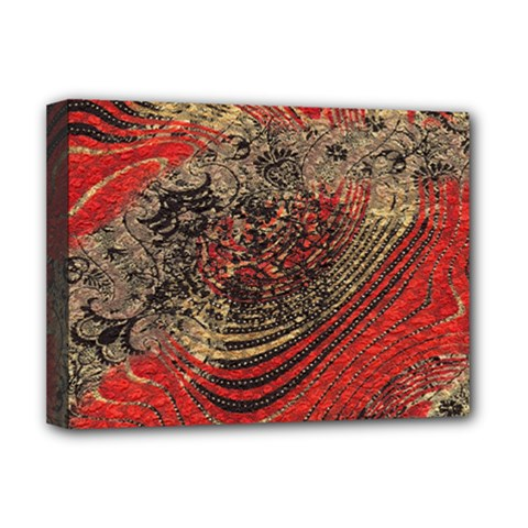 Red Gold Black Background Deluxe Canvas 16  X 12   by Simbadda