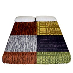 Blocky Filters Yellow Brown Purple Red Grey Color Rainbow Fitted Sheet (queen Size) by Mariart