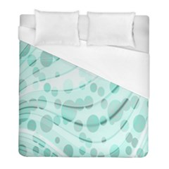 Abstract Background Teal Bubbles Abstract Background Of Waves Curves And Bubbles In Teal Green Duvet Cover (Full/ Double Size) by Simbadda