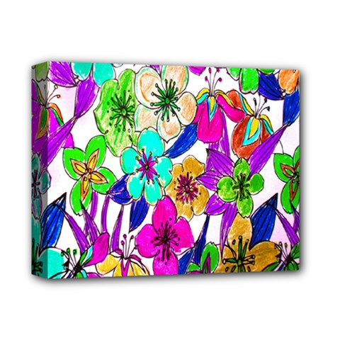 Floral Colorful Background Of Hand Drawn Flowers Deluxe Canvas 14  x 11  by Simbadda