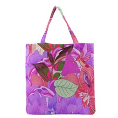 Abstract Design With Hummingbirds Grocery Tote Bag