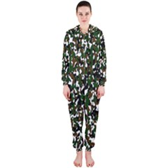 Camouflaged Seamless Pattern Abstract Hooded Jumpsuit (Ladies)