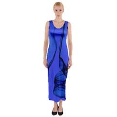 Blue Velvet Ribbon Background Fitted Maxi Dress