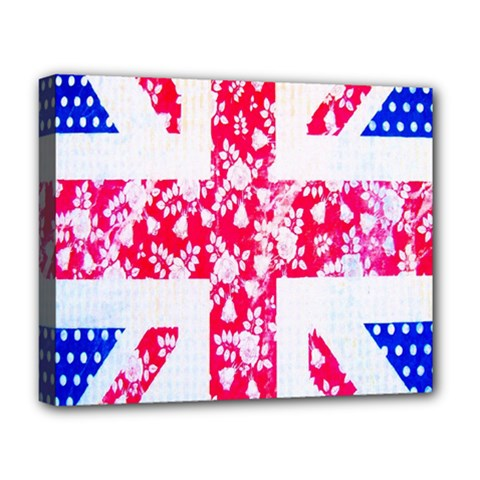 British Flag Abstract British Union Jack Flag In Abstract Design With Flowers Deluxe Canvas 20  x 16   by Nexatart