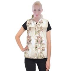 Floral Flower Star Leaf Gold Women s Button Up Puffer Vest