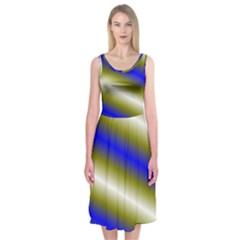 Color Diagonal Gradient Stripes Midi Sleeveless Dress