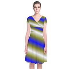 Color Diagonal Gradient Stripes Short Sleeve Front Wrap Dress