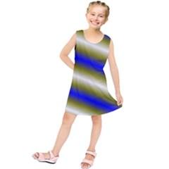 Color Diagonal Gradient Stripes Kids  Tunic Dress