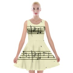 Music Notes On A Color Background Velvet Skater Dress