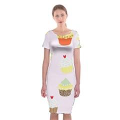 Seamless Cupcakes Wallpaper Pattern Background Classic Short Sleeve Midi Dress