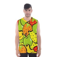 Digitally Created Funky Fruit Wallpaper Men s Basketball Tank Top by Nexatart