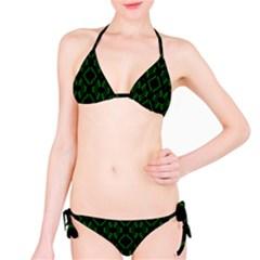 Green Black Pattern Abstract Bikini Set