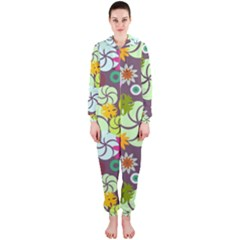 Floral Seamless Pattern Vector Hooded Jumpsuit (ladies)