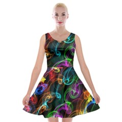 Rainbow Ribbon Swirls Digitally Created Colourful Velvet Skater Dress