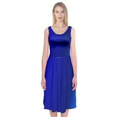 Blue Wallpaper With Rainbow Midi Sleeveless Dress