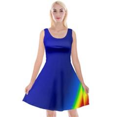 Blue Wallpaper With Rainbow Reversible Velvet Sleeveless Dress