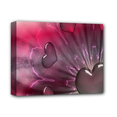 Love Hearth Background Wallpaper Deluxe Canvas 14  x 11  by Nexatart