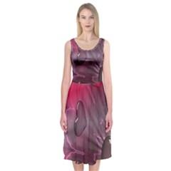 Love Hearth Background Wallpaper Midi Sleeveless Dress