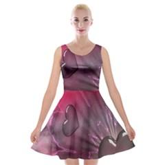 Love Hearth Background Wallpaper Velvet Skater Dress