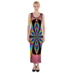 Fractal Butterfly Fitted Maxi Dress