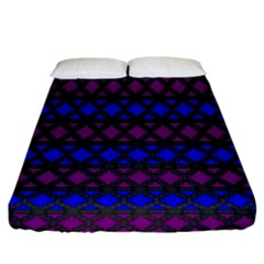 Diamond Alt Blue Purple Woven Fabric Fitted Sheet (king Size) by Mariart