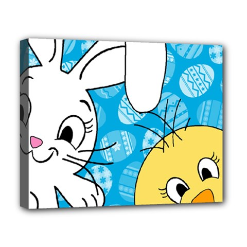 Easter Bunny And Chick  Deluxe Canvas 20  X 16   by Valentinaart