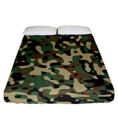 Army Camouflage Fitted Sheet (california King Size) by Mariart