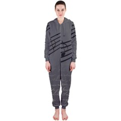 Music Clef Background Texture Hooded Jumpsuit (Ladies)