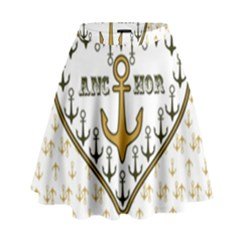 Anchor Heart High Waist Skirt by Nexatart