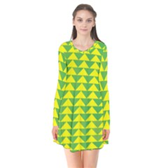Arrow Triangle Green Yellow Flare Dress by Mariart