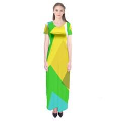 Green Yellow Shapes   Short Sleeve Maxi Dress