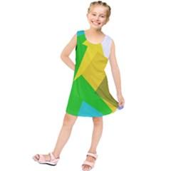 Green Yellow Shapes       Kid s Tunic Dress