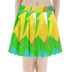 Green Yellow Shapes    Pleated Skirt