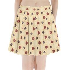 Orange Flowers Pattern     Pleated Mini Mesh Skirt