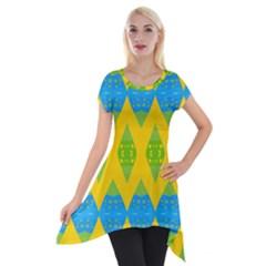 Rhombus Pattern           Short Sleeve Side Drop Tunic