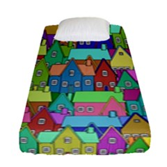 Neighborhood In Color Fitted Sheet (single Size) by Nexatart