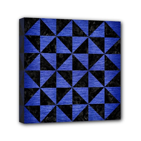 Triangle1 Black Marble & Blue Brushed Metal Mini Canvas 6  X 6  (stretched) by trendistuff