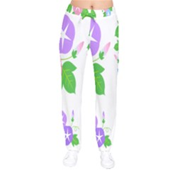Flower Floral Star Purple Pink Blue Leaf Drawstring Pants by Mariart