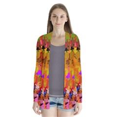 Colorful Shapes       Drape Collar Cardigan