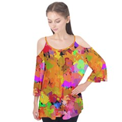 Colorful Shapes        Flutter Sleeve Tee