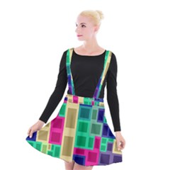 Rectangles And Squares           Suspender Skater Skirt by LalyLauraFLM
