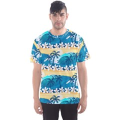 Tropical Surfing Palm Tree Men s Sport Mesh Tee by pushu