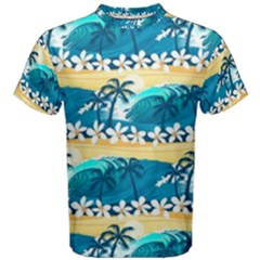 Tropical Surfing Palm Tree Men s Cotton Tee by pushu